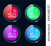 float four color glass button...