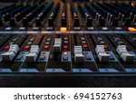 many buttons of audio mixer... | Shutterstock . vector #694152763