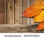 Colorful Autumn Leaves On Old...