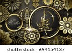 eid al adha mubarak calligraphy ... | Shutterstock .eps vector #694154137