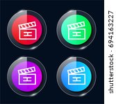clapperboard four color glass...