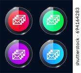 letters four color glass button ...