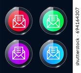letter four color glass button...
