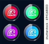 wave four color glass button ui ...