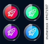 rocket four color glass button...