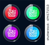 basket four color glass button...