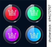 crown four color glass button...