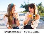 cute pretty friends girls... | Shutterstock . vector #694182883