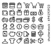 shopping line icons set  buying ... | Shutterstock .eps vector #694193923