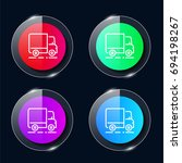 truck four color glass button...