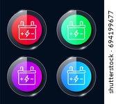 battery four color glass button ...