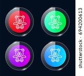 teddy bear four color glass...
