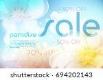 paradise summer sale background ... | Shutterstock .eps vector #694202143