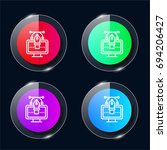 vector four color glass button...