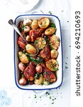 oven roasted spicy chicken with ...   Shutterstock . vector #694210693