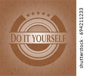 do it yourself badge with wood... | Shutterstock .eps vector #694211233