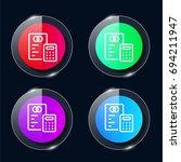 budget four color glass button...