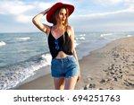 summer fashion portrait of... | Shutterstock . vector #694251763
