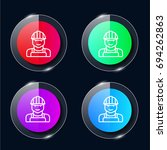 worker four color glass button...