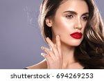 beauty woman face portrait.... | Shutterstock . vector #694269253