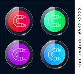 magnet four color glass button...