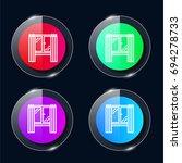 window four color glass button...