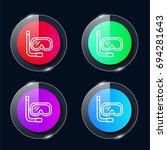 snorkel four color glass button ...