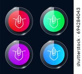 canine four color glass button...