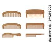 comb   barber comb  wooden comb ... | Shutterstock .eps vector #694295203