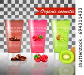 realistic packaging body scrub... | Shutterstock .eps vector #694311433