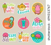 Stock vector set of cute cartoon badges colorful fun stickers design summer holidays concept elements 694313767