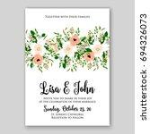 wedding invitation floral card...   Shutterstock .eps vector #694326073