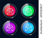 email four color glass button...