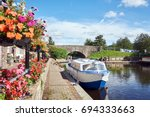 a boat on brecon canal basin...