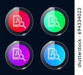 music four color glass button...