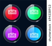 boombox four color glass button ...