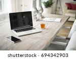 home interior laptop web design ... | Shutterstock . vector #694342903