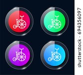 bycicle four color glass button ...