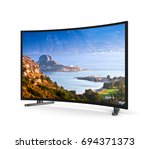 modern tv set with curved... | Shutterstock . vector #694371373