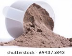 chocolate protein whey... | Shutterstock . vector #694375843