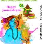 illustration of lord krishna in ... | Shutterstock .eps vector #694399933