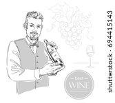 sommelier  waiter  man holding...   Shutterstock .eps vector #694415143
