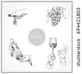 set of sketches of hands with... | Shutterstock .eps vector #694421803