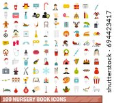 100 nursery book icons set in... | Shutterstock .eps vector #694423417