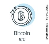 bitcoin cryptocurrency coin... | Shutterstock .eps vector #694433053