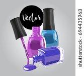 vector colorful nail polish...   Shutterstock .eps vector #694435963