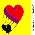 extruded heart within a heart... | Shutterstock .eps vector #694441633