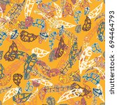 seamless pattern with rustic... | Shutterstock . vector #694464793
