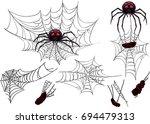 halloween spider web set.... | Shutterstock .eps vector #694479313
