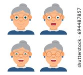 the amusing grandmother wearing ... | Shutterstock .eps vector #694487857